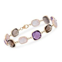 This station bracelet offers a fun, flirtatious palette with three different kinds of cushion-cut gemstones. Rose quartz, 11.50 ct. t.w. smoky quartz, and 7.30 ct. t.w. amethysts are bezel-set in 14kt yellow gold. Lobster clasp, multi-stone station bracelet. Free shipping & easy 30-day returns. Fabulous jewelry. Great prices. Since 1952.
