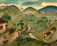 Entre morros e roda d'água, de Anita Malfatti, déc. 1950  [Coleção particular São Paulo/SP]