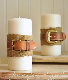 It's easy to dress up a candle with burlap and a thrift store belt for Father's Day