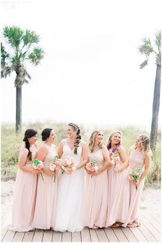 Bridesmaids style - Blush Pink Bridesmaids dresses for beach wedding. Shauna and Jordon Photography