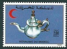 Timbre Collection, Stamp Collecting, Morocco, Vintage Stamps, Croissant, Christmas Ornaments, Holiday Decor, Red, Scrap