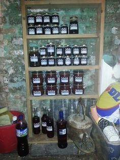 The preserve cellar storage for Jan's, jellies, chutneys and vodkas!