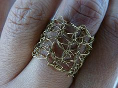 Crochet brass ring /// Crochet bronze  ring /// metal crochet ring /// gold colour crochet ring /// by FlowCrochet on Etsy