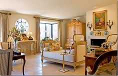 """""""One of Chas. Faudree's last residences featured a French day bed in front of the fireplace"""" From COTE DE TEXAS blog."""