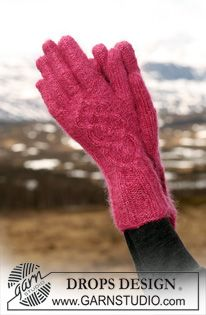 "DROPS gloves in ""Alpaca"" and ""Kid-Silk"" with cable pattern . ~ DROPS Design"