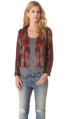 Haute Hippie Snake Ikat Sequin Jacket. Fun cropped jacket, that can be used for several occasions.