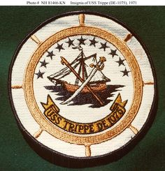 USS Trippe jacket patch of an insignia used by the ship in 1971.