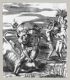 Giovanni (Gian) Jacopo (Giacomo) Caraglio after Rosso Fiorentino: Hercules and Achelous in the Form of a Bull (49.50.208) | Heilbrunn Timeline of Art History | The Metropolitan Museum of Art