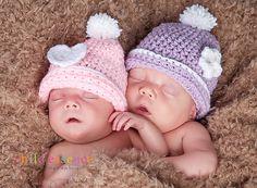 Newborn Twin Girl Pastel Beanie Set - Photographer Deal. $42.00, via Etsy.