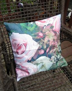 Beautiful Faded Rose 16x16 Throw Pillow Cover by BettyinParis, $20.00