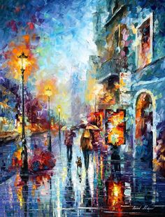 Rain Painting City Artworks Cityscape Art Work On Canvas By Leonid Afremov - Melody Of Passion Afremov is a world-know name that stands for remarkable talent and skill. His city artworks like this rain painting will certainly take your breath away. Fall Canvas Painting, Rain Painting, Oil Painting Flowers, Oil Painting Tips, Cityscape Art, Inspiration Art, Abstract Wall Art, Abstract Portrait, Painting Abstract