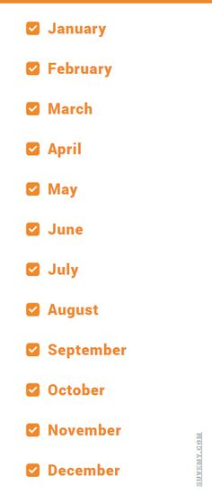 Lista de Meses del año en Inglés