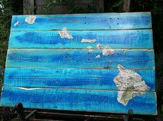 Vintage map of Hawaii, decoupage on pallet wood