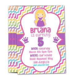 Personalized Rapunzel Invitations on Etsy, $10.00 Kids, birthday, party, kids birthday invitations