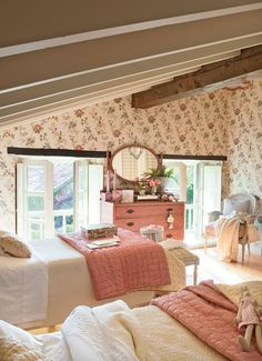 Jana Hortman saved to Country Cottage with Christmas Decor. Love the old fashioned floral wallpaper and soft colors. 10 Easy Shabby Chic Bedroom Decor Plans You Can Do Yourself For Your Apartment Shabby Chic Interiors, Shabby Chic Bedrooms, Cozy Bedroom, Shabby Chic Decor, Girls Bedroom, Bedroom Rustic, Pretty Bedroom, Bedroom Romantic, Guest Bedrooms