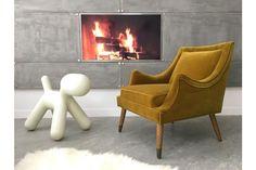 Design Vintage Unique Mustard Velvet Armchair Chair photo 1