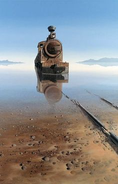 "amazing photo of a train now abandoned that seems to be rising from the haunted waters of a lake , great landscape photo imagery Keith Alexander. ""The truth is, most of us discover where we are headed when we arrive. Abandoned Buildings, Abandoned Train, Abandoned Mansions, Abandoned Places, Abandoned Vehicles, Abandoned Castles, Haunted Places, Old Trains, Train Tracks"
