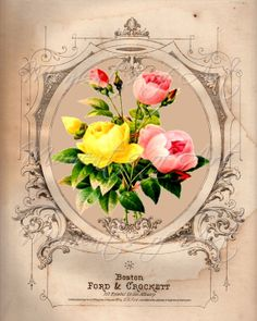 "Traditional Roses Floral Print, 8x10, ""Pink and Yellow Flowers IV"" Art Image, Giclee"
