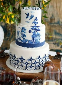 """Blue is one lucky color. And for that reason, we're channeling the positive energy with these gorgeous """"something blue"""" wedding cakes! See some of the fanciest, cool blue cakes below for some sweet inspiration. Lucky Blue, White Cakes, Blue Cakes, Beautiful Cakes, Amazing Cakes, Bolo Floral, Blue Willow China, Bolo Cake, Painted Cakes"""