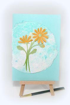 Handmade card Flowers Handmade paper Yellow flower by McRtyCards