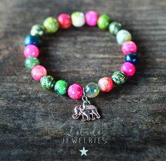 Bracelet en perles d'agate avec charm éléphant argenté, style boho, bohême, ethnique, shabby chic