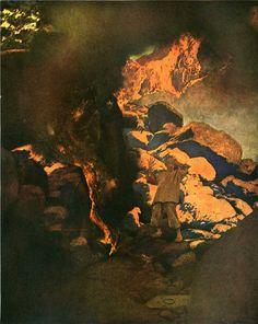 """illus Maxfield Parrish; The Arabian Nights"""" 1909"""