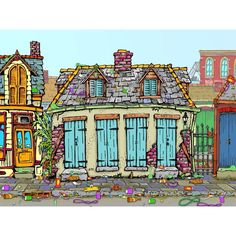 Eric styles ---great new Orleans artist. Creole Cottage, Louisiana Art, New Orleans Art, Jackson Square, House Art, My Muse, Small Art, Painting Inspiration, Bright Colors