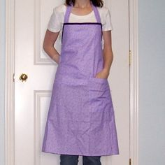 Adult Womens Apron in Purple Flower Print by threadsandthings1, $15.00