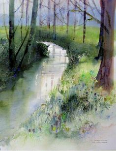 Watercolour: creek flowing through a forest