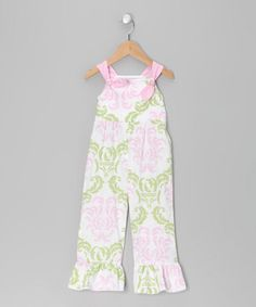 Take a look at this Pink Damask Knot Overalls - Infant, Toddler & Girls  by Lil Miss Muffin on #zulily today!