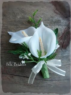 White Calla Lily Boutonniere Groom groomsman