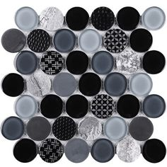 Supreme Tile Circle x Glass and Stone Mosaic Tile Color: Black/Gray Grey Wall Tiles, Grey Walls, Stone Mosaic Tile, Mosaic Glass, Marble Mosaic, Supreme, Tattoo Designs, Tuile, Cute Couple Art