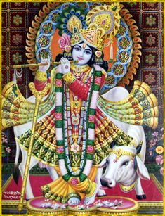 "✨ SHRI KRISHNA ✨Artist: Yogendra Rastogihttp://careforcows.org/""O supreme great one! O Supreme Personality of Godhead! O Supersoul, master of all mystic power! Your pastimes are taking place continuously in these worlds, but who can estimate where, how and when You are employing Your spiritual energy and performing Your pastimes? No one can understand the mystery of these activities.""~Caitanya Caritamrita Madhya 21.9"
