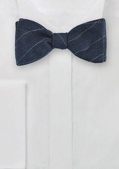 Pencil Stripe Wool Bow Tie in Navy