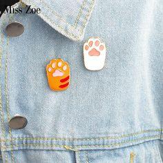 Miss Zoe 2pcs/set Enamel pin Cute Cartoon Orange white Cat Kitten Paw Brooch Pins DIY Badge Gift Jewelry for women girl kids $5.99   #fashionista #stylish #glam #love #style #model #beauty #instalike #iwant #styles #streetstyle #cute #instastyle #fashion #ootd