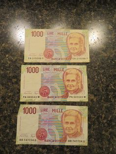 3 1990 Italy 1000 Lire Mille Banknote Foreign Paper Money