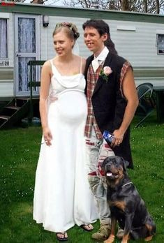 The makings of a perfect redneck wedding...Pregnant bride smoking a cigarett in flip flops, Goom with a mullet, flannel cut off shirt with ripped jeans holding a beer and a dog as best man! Too Funny!!!