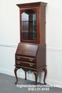american drew cherry grove queen anne secretary desk w lighted curio ebay