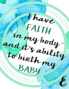 Birthing Affirmation Week 7 - Inspirational quote, printable, contractions, strength, women, power, baby, tension