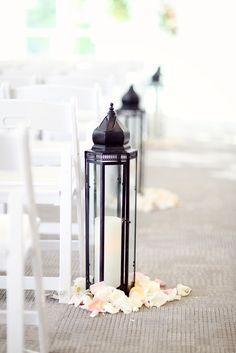 Black Iron Lanterns Aisle Decor with petals Outdoor Wedding Decorations, Ceremony Decorations, Wedding Themes, Dream Wedding, Wedding Day, Wedding Hairs, Gothic Wedding, Summer Wedding, Wedding Ceremony