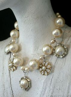 Necklace with large pearls and vintage faux pearl pieces.