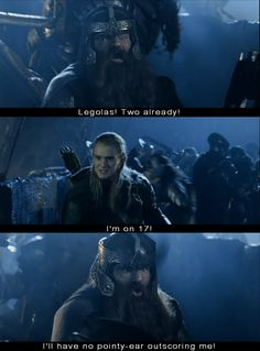 Haha I love how gimli and legolas are constantly having a contest with each other! In case you don't watch LoTR (which is a bad decision to make) Legolas and Gimli are having a contest to see how many Uruk-hai they can kill each Fellowship Of The Ring, Lord Of The Rings, Legolas Und Gimli, Legolas Funny, Frodo Baggins, Aragorn, Thorin Oakenshield, Warrior Cats, J. R. R. Tolkien