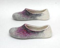 Felted slippers Women home shoes Green Blue от JurgaFeltLife