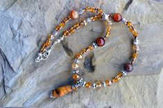 Tiger Eye Beaded Necklace with Crystal Tiger Eye by LKArtChic