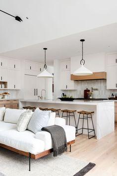 Living Room Kitchen, Home Decor Kitchen, Interior Design Kitchen, Modern Interior Design, Home Living Room, Kitchen Ideas, Interior Livingroom, Living Area, Kitchen Trends