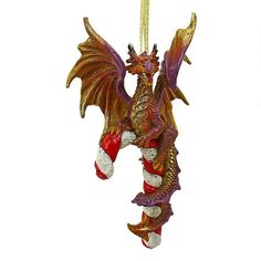 Design Toscano Cane and Abel the Dragon Holiday Ornament - QS94145