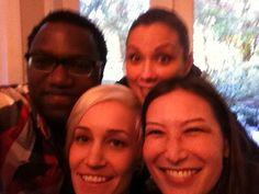 Omari Newton, Lexa Doig, Luvia Petersen, and Jennifer Spence take a selfie before the live tweet for #Continuum season finale - March 18, 2013 (via @OmariAkilNewton on Twitter)