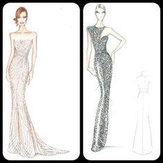 Beautiful!  |  Armani Oscar sketches for Jessica Chastain & Naomi Watts