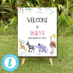 Editable Party Animals Welcome Board Sign, Party Animals instant download , You print birthday banner, Party Animals DIY party Birthday Bash, First Birthday Parties, Birthday Celebration, First Birthdays, Party Animals, Animal Party, Welcome Boards, Diy Party, Party Printables