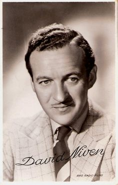 British Academy Award-winning actor David Niven impersonated the archetypal English gentleman, witty, naturally charming, immaculate in dress and behaviour, but he also had a dash of light-hearted sexual pet boy Hollywood Men, Hooray For Hollywood, Hollywood Icons, Golden Age Of Hollywood, Hollywood Stars, Classic Hollywood, Ronald Colman, Famous Men, Famous Faces